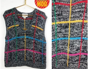 Sassy Vintage 80s 90s Multicolor Geometric Knit Sweater Vest!