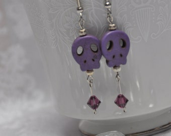 Purple Skull Earrings, Day of the Dead Earrings, Sugar Skull Earrings, Purple and Silver Earrings, Swarovski Crystals, Gifts For Her
