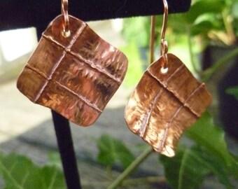 Foldformed Copper Square Earrings