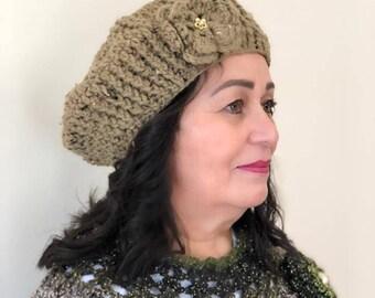 Tan Women's Crochet Beret