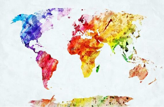 World Map Wall Mural Painting Map Wallpaper Colorful World - Colorful world map