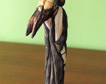 Jewish art; Rabbi wood statue; Folk art, Polish Carving Ready to go