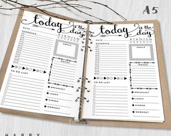 Printable Daily Planner Inserts, A5 Daily Planner, Printable A5 Organizer Notebook Daily planner inserts, PDF file