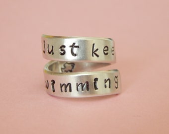 Just keep Swimming - Hand Stamped Aluminum Spiral Ring, Inspirational Ring, Gift Under 20