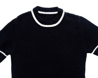 Vintage 100% Cotton Dark Blue Knit Womwns Pullover Short Sleeves Size F/38, I/42, GB/10, USA/6, CAN/8, D/36