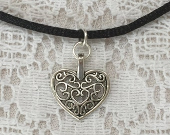 Heart Choker Necklace 90s choker necklace black cord choker necklace