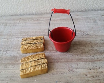 Tiny miniature dollhouse red metal bucket and resin hay bales
