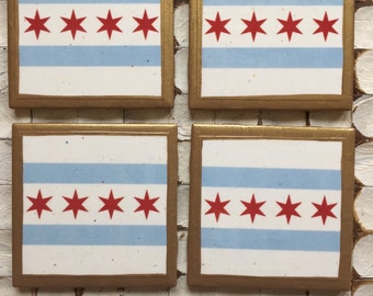 COASTERS!! Set of 4 Chicago Flag Coasters with Gold Trim