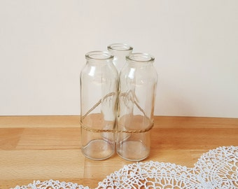 Vintage 3 Transparent Glass Bottles, Glass Jars, Pharmacy Chemist containers