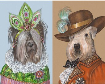 Terrier Couple I - 2 Art Prints - Skye Terrier and Soft-Coated Wheaten Terrier - Funny Pet Portraits by Maria Pishvanova