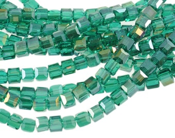 "4mm Indicolite Teal Green Blue AB Crystal Cubes 5601 - Full 16"" Strand - About 85 Beads - Rich Ocean Color"