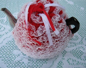Vintage  Tea Cosy - Red and White Lacy - Vintage Style for your teapot.