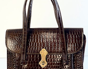 Granada Brown Faux Croc Vinyl Purse