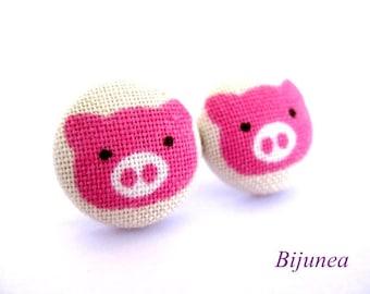 Pig earrings - Pink pig stud earrings - Pig post earrings - Pink pig posts sf658