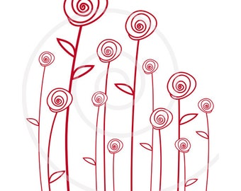 Abstract red roses, digital clip art, flower clipart, printable mother's day card, birthday card, EPS, vector, instant download