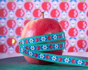"Jacquard Ribbon Trim ""Sweet Apple, Sky""  from jolijou 1 meter"