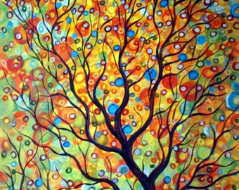 FALL RAINDROPS HUGE Canvas 84x60 Large Whimsical Tree Landscape Artwork by Luiza Vizoli Other Sizes available