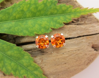 Madeira Citrine Studs - Genuine Madeira Citrine Stud Earrings in Real 14k Gold, Sterling Silver, or Platinum - 3mm, 4mm, 6mm, 8mm