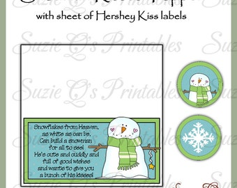 Snowman Kisses Topper and kiss labels - Digital Printable - Immediate Download