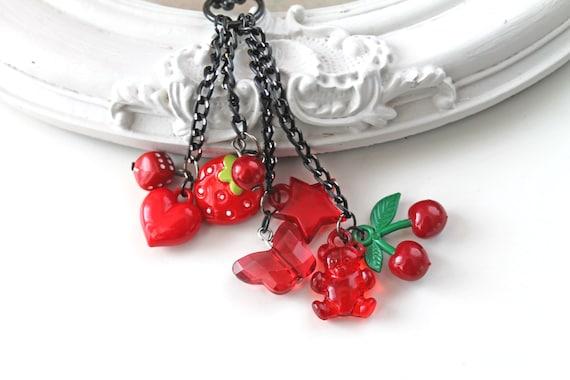 Red Kawaii Lolita cluster necklace kitsch original choker heart start strawberry