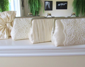 SALE 15% OFF Mis Matched Bridesmaid Clutches In Cream Silk Dupioni,Bridal Accessories,Wedding Clutch,Bridesmaid gift,Personalized Clutches