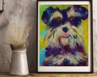 Schnauzer paintings Schnauzer lovers Pop Art Pet Portrait Happy Dog Animal Wool Painting Dog wall art Pet Loss Gift Dog Portrait Dog Picture
