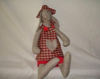 big rabbit in linen