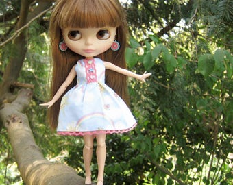 Blue Sky Dress for Blythe or Pullip with Clouds, Rainbow and Sunshine Print