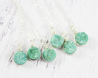 Green Druzy Necklace, Light Turquoise Necklace, Turquoise Green Necklace, Light Green Necklace, Druzy Gemstone Necklace, Wire Wrap Necklace