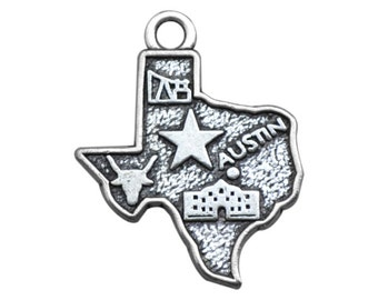 2 Texas State Charms, Antique Silver Tone (1I-249)