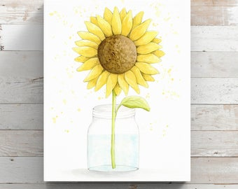 Sunflower Canvas Print from original watercolor painting - Watercolor Sunflower in a Mason Jar Print - Wrapped Canvas Print