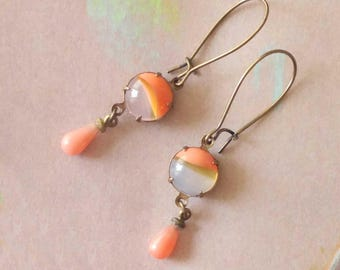 Peach Earrings - Coral Earrings - Opalescent - Opal - Daryl III Earrings (SD1272)