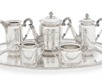 Hungarian 800 Standard SILVER 5-piece Tea and Coffee Service w/ Matching Tray