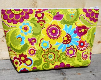 Makeup Bag , Zipper Pouch - Yellow Floral