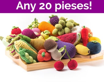 Crochet fruit and vegetables any 20 Pieces! teether teeth, eco-friendly Baby toys, activity toy by MiniMom's