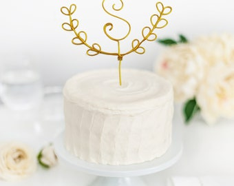 Wedding cake topper - Initial cake topper - Wire cake topper - Custom cake topper - Wedding decor - Rustic wedding decor - Leaf Cake Topper