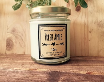 Apple Scented Soy Candle, Fall Scented Soy Candle, Soy Candles, Autumn Scented Candles, Fresh Apple Soy Candle
