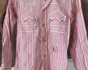 RARE 50s Levi's Authentic Western Wear Striped Western Shirt, S // Vintage Cowpunk Cowgirl Shirt // Space Cowboy Shirt