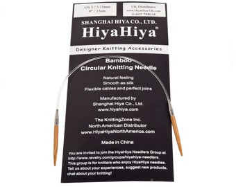 HiyaHiya Bamboo Fixed Circular Knitting Needles 9in/23cm, Sizes 2mm - 3.25mm