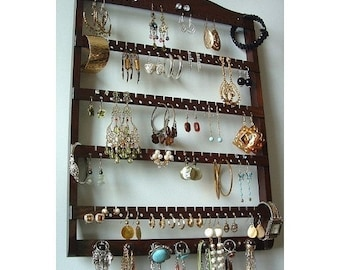 ON SALE Jewelry Display Elegant Earring Organizer, Beautiful Dark Mahogany Stain, Necklace Holder, Earring Storage, Lovely Oak Hardwood
