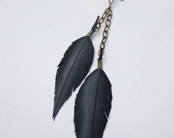"""Single """"Vegan feather""""  dangle earring.  Hand-cut from re-cycled bicycle inner tube."""