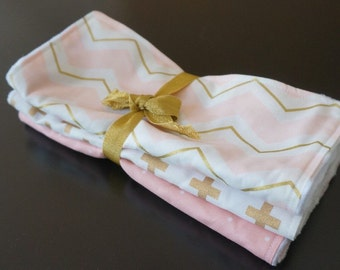 Chenille Burp Cloths in Pink and Gold