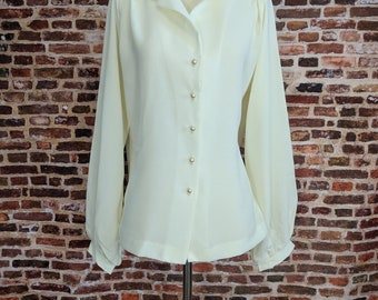 Vintage Blouse Off White Cream Women's Size Small Medium Ruffle 80s Work Wear Professional Long Sleeve