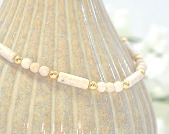Beige Ankle Bracelet 9.5 inch Small Anklet Minimalist Anklet Beaded Ankle Bracelet Handmade Jewelry