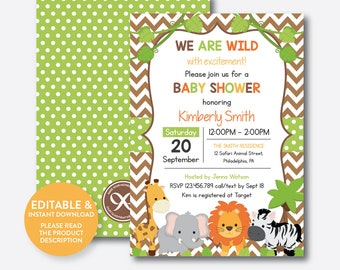 Instant Download, Editable Safari Baby Shower Invitation, Jungle Safari Invitation, Jungle Animal Baby Shower Invitation, Chevron (SBS.32)