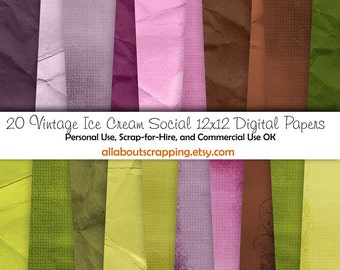 "12"" by 12"" COMMERCIAL Use Digital Scrapbooking Paper - Vintage Ice Cream Social Digital Papers - Instant Download"