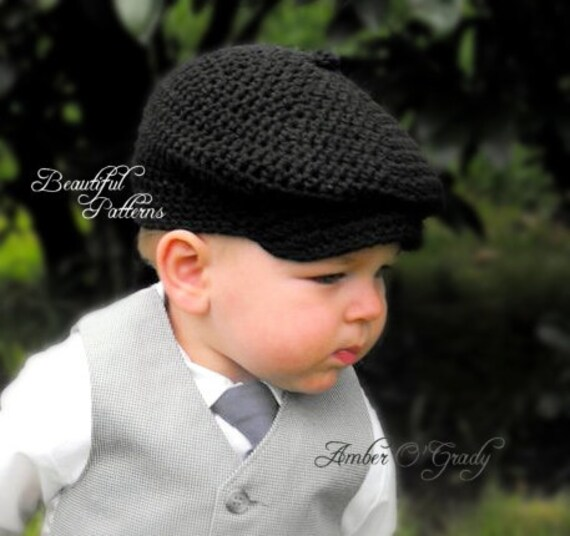 Crochet Hat Pattern Baby Boy Newsboy Cap Cabby Beanie Hat Bow Tie