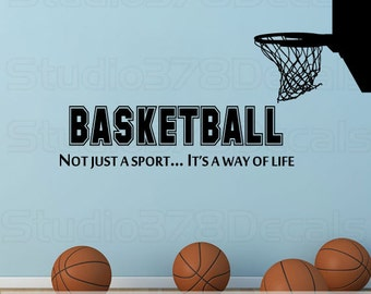 Basketball Wall Decal with Hoop | Not Just A Sport, It's A Way Of Life | Sports Room Decor | Sports Quote | Boys Vinyl Wall Decal | 9x32