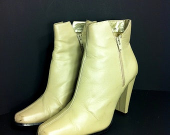 Leather Ankle Boot Heels 8 - Slip On High Heel Booties 8 - Minimal Boots 8
