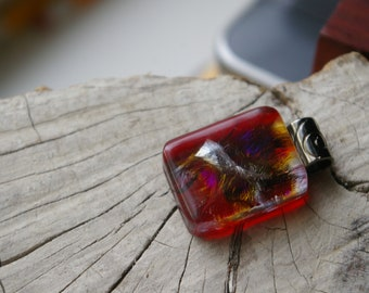 really red iridescent fused glass pendant